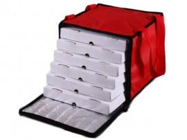 Bolso térmico para 6 cajas de pizza de 33x33 con velcro y cierre